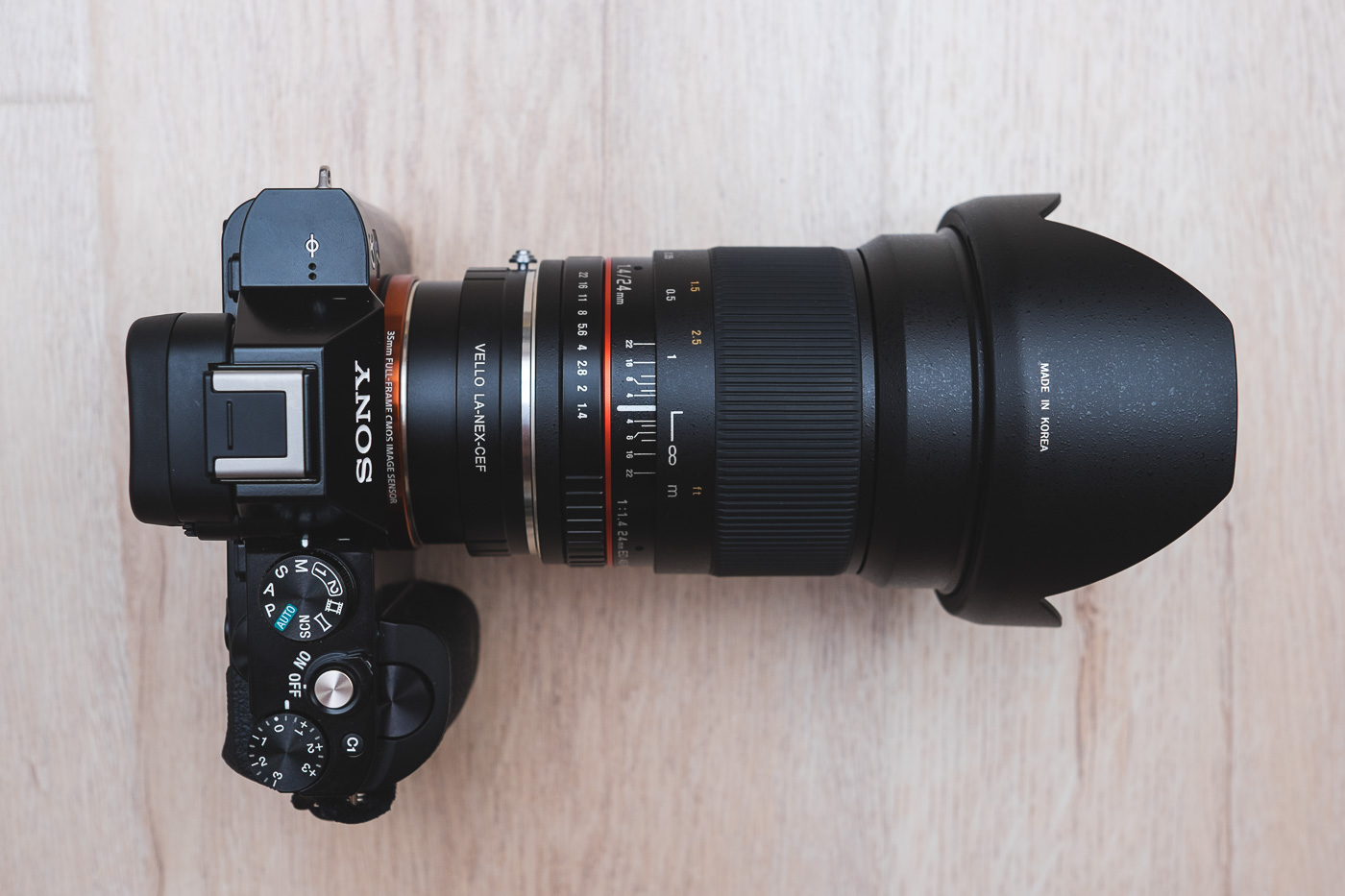 Canon Mount Rokinon 24mm f/1.4 Lens on the Sony a7S