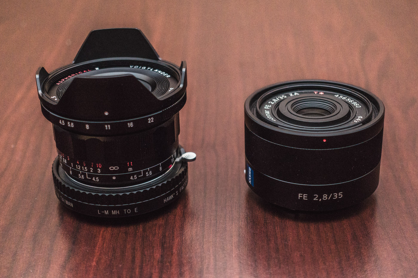 The Voigtlander 15mm f/4.5 Heliar III is not much larger than the Sony Zeiss FE 35mm f/2.8 Sonnar T*, even with a Leica M to Sony E mount adapter attached.