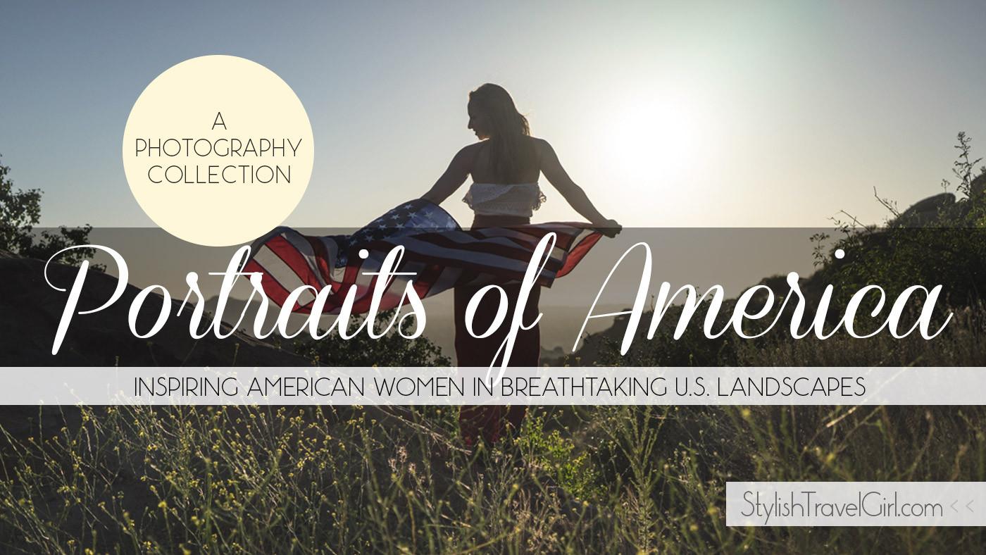Portraits of American Women on Stylish Travel Girl